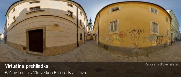 Baštová ulica s Michalskou Bránou Bratislava