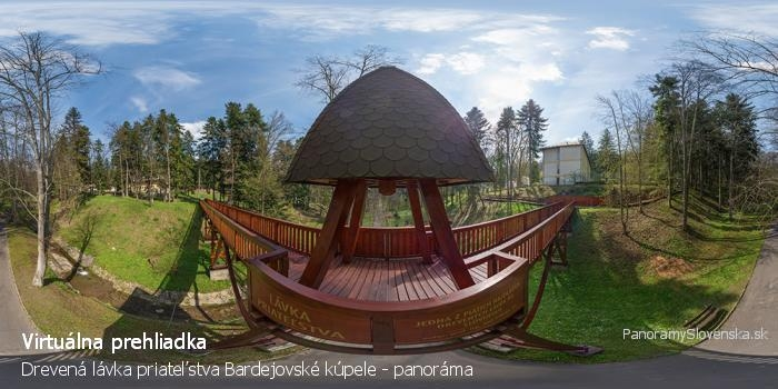 Drevená lávka priateľstva Bardejovské kúpele - panoráma