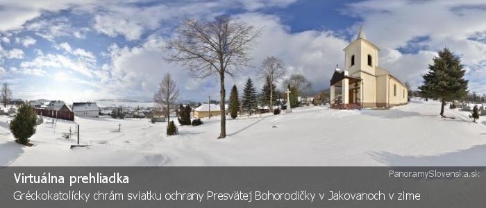 Gréckokatolícky chrám sviatku ochrany Presvätej Bohorodičky v Jakovanoch v zime
