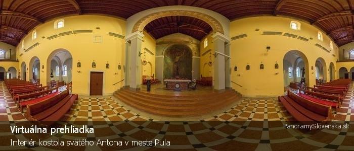 Interiér kostola svätého Antona v meste Pula