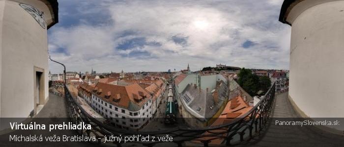 Michalská veža Bratislava - južný pohľad z veže
