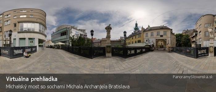 Michalský most so sochami Michala Archanjela Bratislava