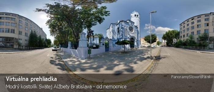 Modrý kostolík Svätej Alžbety Bratislava - od nemocnice