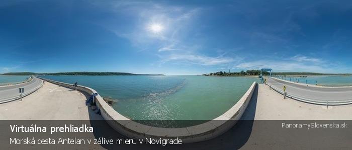 Morská cesta Antelan v zálive mieru v Novigrade