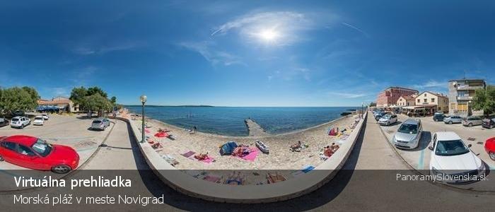 Morská pláž v meste Novigrad