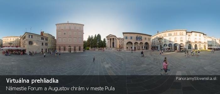 Námestie Forum a Augustov chrám v meste Pula