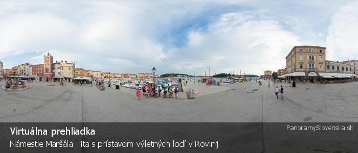 Námestie Maršála Tita s prístavom výletných lodí v Rovinj