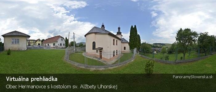 Obec Hermanovce s kostolom sv. Alžbety Uhorskej