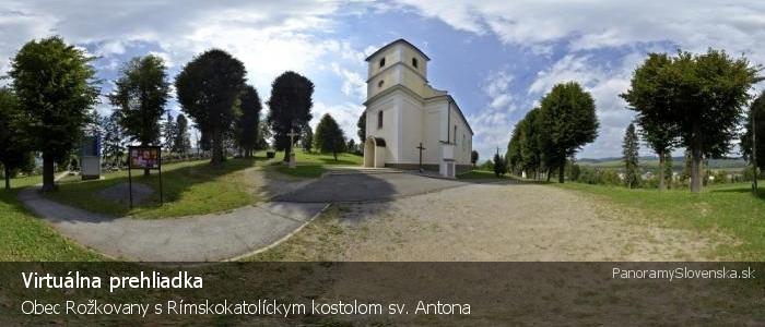 Obec Rožkovany s Rímskokatolíckym kostolom sv. Antona