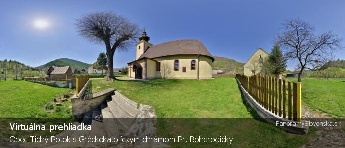 Obec Tichý Potok s Gréckokatolíckym chrámom Pr. Bohorodičky