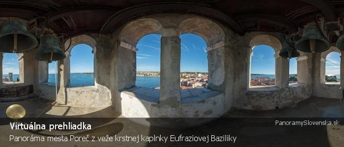 Panoráma mesta Poreč z veže krstnej kaplnky Eufraziovej Baziliky