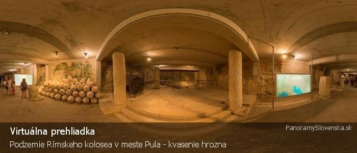 Podzemie Rímskeho kolosea v meste Pula - kvasenie hrozna