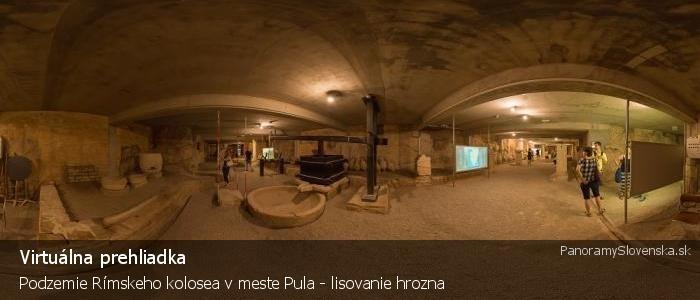 Podzemie Rímskeho kolosea v meste Pula - lisovanie hrozna