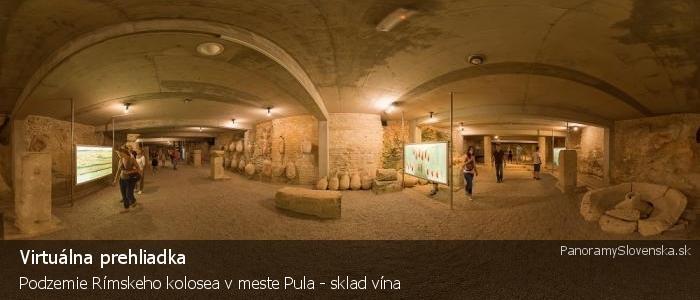 Podzemie Rímskeho kolosea v meste Pula - sklad vína