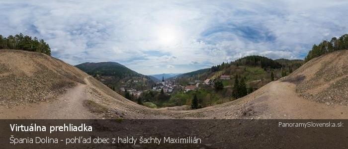 Špania Dolina - pohľad obec z haldy šachty Maximilián
