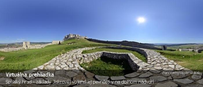 Spišský hrad - základy Jiskrovej vojenskej pevnôstky na dolnom nádvorí