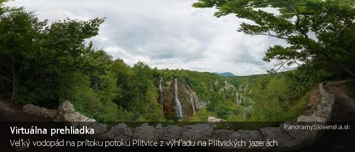 Veľký vodopád na prítoku potoku Plitvice z výhľadu na Plitvických jazerách