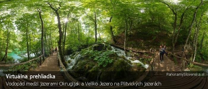 Vodopád medzi jazerami Okrugljak a Veliko Jezero na Plitvických jazerách