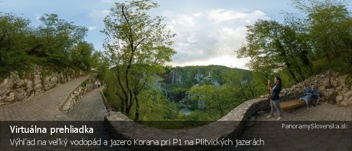 Výhľad na veľký vodopád a jazero Korana pri P1 na Plitvických jazerách